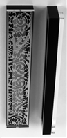Silver Plated Mezuzah Case w/ Black Border- 15 cm scroll