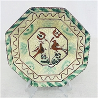 Sgraffito Birds Plate with Floral $75