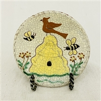 Small Beeskep Plate with Bird and Bees $30