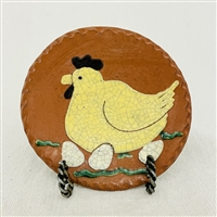 Small Chicken Laying on Eggs Plate $30