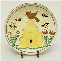 Beeskep Plate with Bird and Bees $45