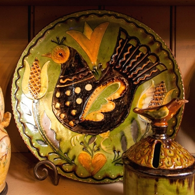 10 Inch Folk Art Bird Plate (MTO) $145