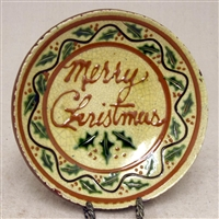 Merry Christmas Plate with Holly $45