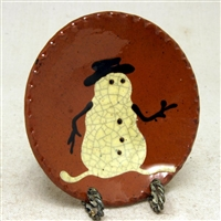 Small Quilled Snowman Plate $18