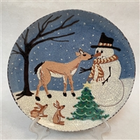 Deer and Snowman Plate (MTO) $135