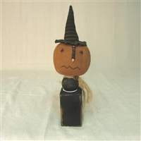 Halloween Pumpkin on Wood Stand $24.50