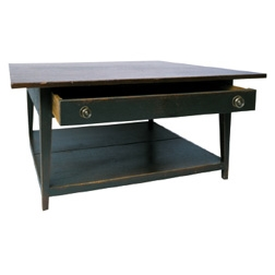 42 Inch Square Coffee Table With Shelf Drawer