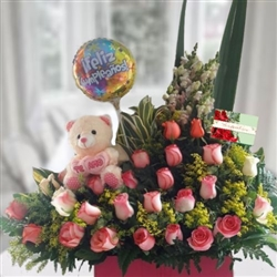 Pink roses arrangement, teddy bear and balloon