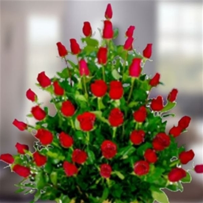 DOZEN PASSION ROSES IN A VASE