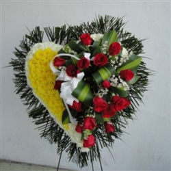 HEART ROSES FUNERAL ARRANGEMENT