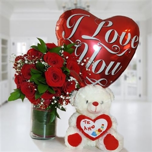 Two Dozen roses in glass vase, teddy bear and balloon