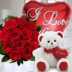Roses bouquet, teddy bear and balloon