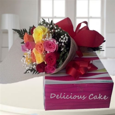 WISHING YOU A GREAT DAY / 24 ROSES AND CAKE