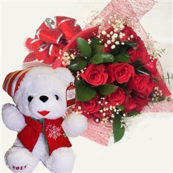 Christmas Teddy bear & flowers