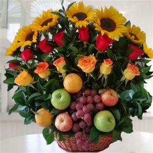 Fruit basket & flowers