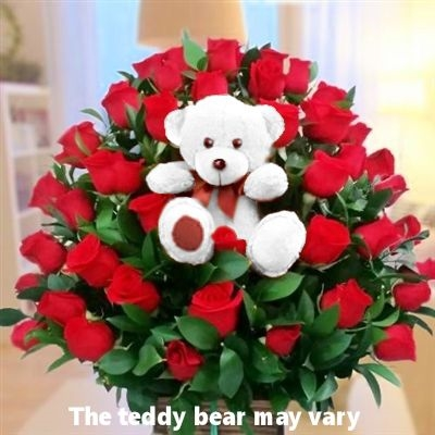 Red roses & teddy
