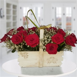 Basket of two dozen roses