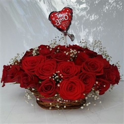 Two dozen red roses in a basket and small balloon