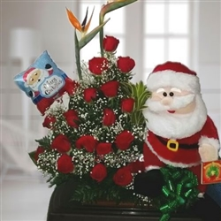 18 red roses in vase with Santa Claus and Christmas balloon