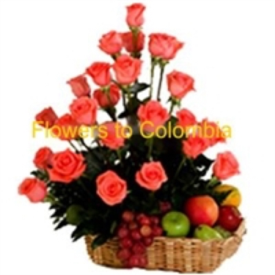 FRUIT BASKET AND FLOWERS, FRUTERO CON FLORES