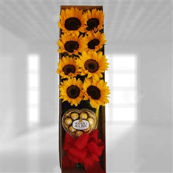 SUNFLOWERS AND CHOCOLATES IN BOX