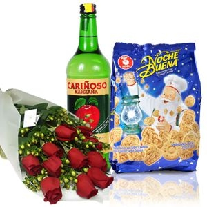 WINE, COOKIES AND ROSES BOUQUET