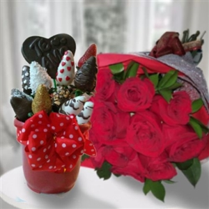STRAWBERRIES & ROSES BOUQUET