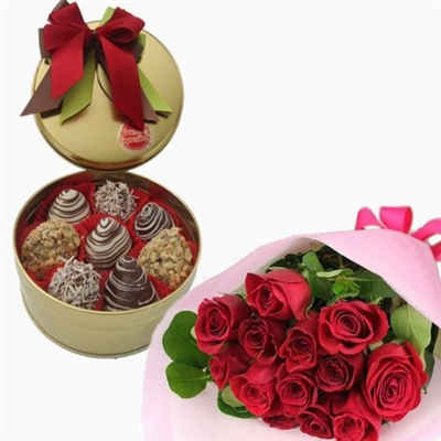 STRAWBERRIES METALLIC BOX WITH BOUQUET