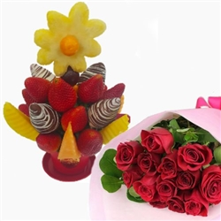 HAPPY FRUIT DAY WITH BOUQUET