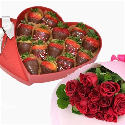 SWEET HEART BOX WITH BOUQUET
