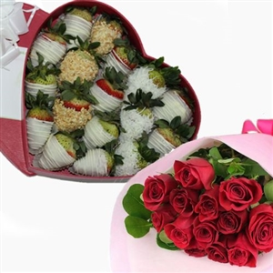 SPECIAL HEART BOX WITH BOUQUET