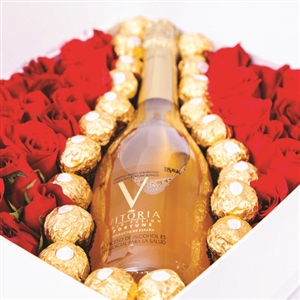 Luxury Arrangement with wine, roses and chocolates.