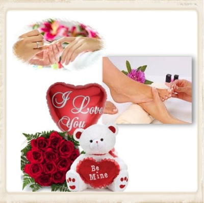 """ALWAYS FIND A WAY"" Manicure, Pedicure, Bouquet of dozen roses, teddy bear and balloon"