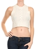 Knitted, round neck, sleeveless cropped top