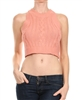 Coral Knitted, round neck, sleeveless cropped top