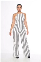 White and Black Stripe Jumpsuit