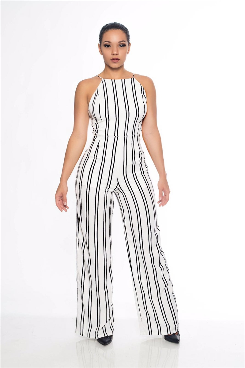 b29466ac78e White and Black Stripe Jumpsuit