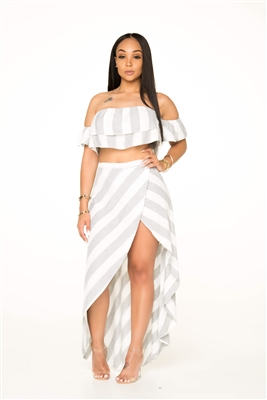 Ruffled top and Skirt two piece
