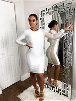 All white bodycon dress with semi sheer detail