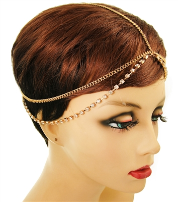 Rhinestone Gold Layered Head Chain.