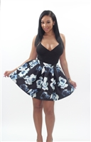 Floral skirt with blue and white prints.