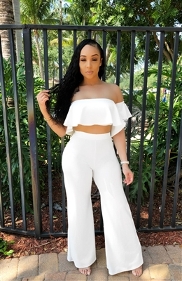 White high waisted set
