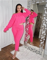 Neon Pink Knitted Set