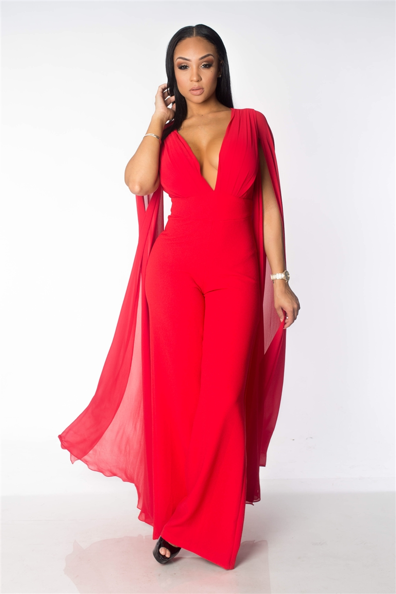Red cape jumpsuit