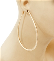 Oval Hoop gold earrings.