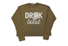 Ladies Drink Local Army Green Crop