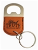 Mini bottle opener keychain brown leather