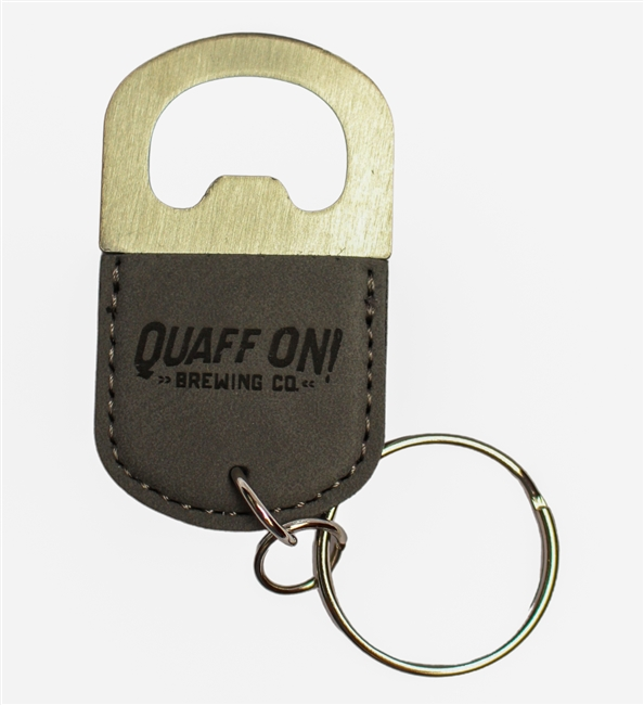 Mini bottle opener keychain greyleather