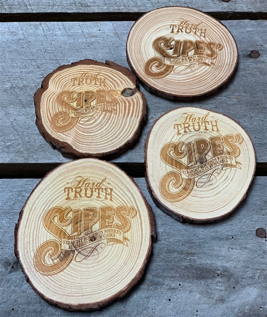 Sipes' Etched Wood Coaster