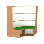 1500mm Curved Bookcase Seat
